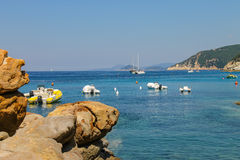 Anchored boats in waters of Tyrrhenian Sea, Sant Andreas on Elba Stock Photo