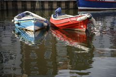 Anchored boats in Whitby stock photo