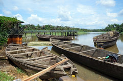 Anchored canoes. Canoes anchored by fishermen in the Niger Delta in Nigeria stock photos