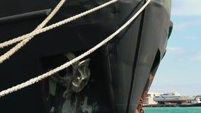 Anchored cargo ship stock video footage
