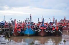 Anchored fishing boats Stock Photos