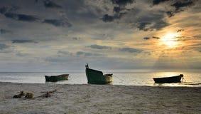 Anchored fishing boats at sandy beach of the Baltic Sea Royalty Free Stock Photos