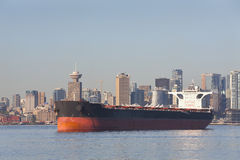 Anchored Freighter, Burrard Inlet, Vancouver Royalty Free Stock Photos