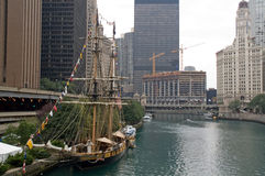 Anchored frigate on Chicago River Stock Photos