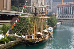 Anchored frigate on Chicago River Royalty Free Stock Image