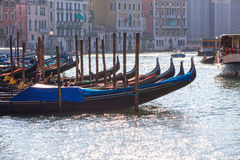 Anchored gondolas in Venice Stock Images