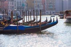 Anchored gondolas in Venice Stock Images