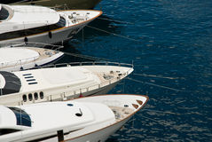 Anchored luxury yachts Stock Photography