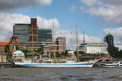Anchored Mir frigate in Hamburg. Royalty Free Stock Photography