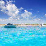 Anchored motorboats in Formentera Illetes Stock Photography