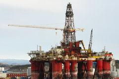 Anchored oil platform. With crane Stock Photography
