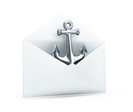 Anchored in an open letter 3d Illustrations Stock Image