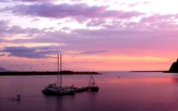 Anchored Sail Boats during sunset Royalty Free Stock Photography