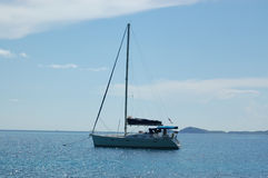 Anchored sailboat. British Virgin Islands Stock Images