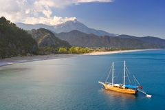 Anchored Sailboat. Sailboat Anchored By The Shore in Turkey Royalty Free Stock Image