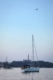 Anchored sailboats in Croatia Stock Photos