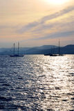 Anchored sailboats Royalty Free Stock Images