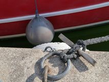 Anchored sailing boat Royalty Free Stock Photos