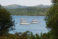 Anchored sailing boats Royalty Free Stock Photo