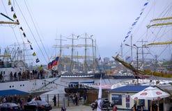 Anchored sailing ships Stock Images