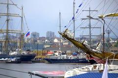 Anchored sailing ships Royalty Free Stock Image