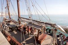Anchored schooner. At Santander bay Stock Image