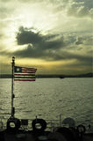 Anchored ship with liberian flag Stock Images