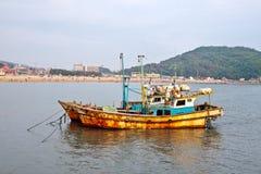 Anchored ships. Anchored rusty fishing ships near Incheon (South Korea Stock Photo