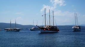 Anchored ships. Four anchored touristic, sailing cruise ships at bay near island Krk Royalty Free Stock Photo