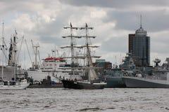 Anchored ships in Hamburg port. Stock Photo