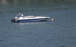 Anchored speed boat Royalty Free Stock Photography