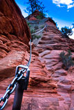 Anchored support chains along Angel Landing Trail in Zion National Park,Utah Stock Images