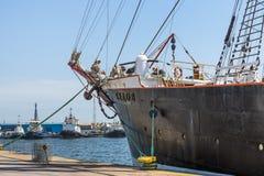 Anchored tall ship keel Royalty Free Stock Image