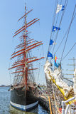 Anchored tall ship Royalty Free Stock Photo