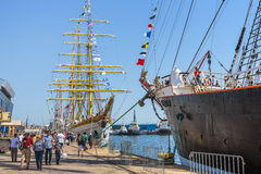 Anchored tall ships Royalty Free Stock Images