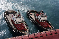 Anchored tugboats royalty free stock images