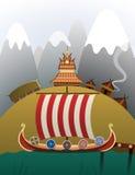 Anchored Viking ship Royalty Free Stock Images