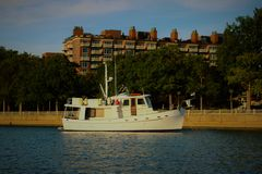 Anchored in the Washington Channel. P Street anchorage, Washington DC Royalty Free Stock Images