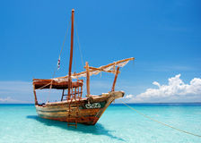 Anchored wooden dhow boat Royalty Free Stock Images