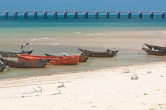 Anchored wooden fishing boats Royalty Free Stock Image