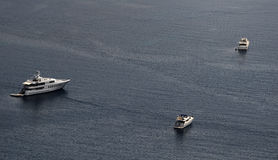 Anchored yacht in Monaco. Top view of expensive boats docked at exclusive marina Royalty Free Stock Photos