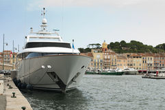 Anchored Yacht in St. Tropez Royalty Free Stock Photography