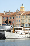 Anchored Yacht in St. Tropez Stock Photography