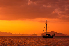 Anchored Yacht in Thailand royalty free stock image