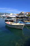 Anchored yachts by Old Town,Budva Royalty Free Stock Images