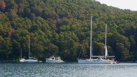 Anchored yachts and sailboats stock video