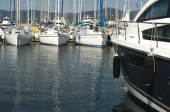 Anchored yachts in St. Tropez Stock Photography