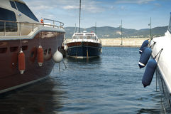 Anchored yachts in St. Tropez Stock Photos