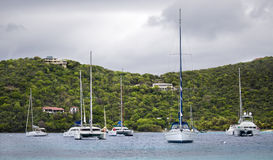 Anchored yachts in the tropics Royalty Free Stock Photo