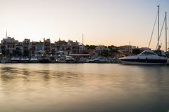 Anchoret boats at sunset time. Anchoret boats in Mallorca Royalty Free Stock Photo
